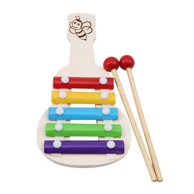 Wooden Xylophone Toy Kids Musical Instrument Music Educational Learn Colours WE