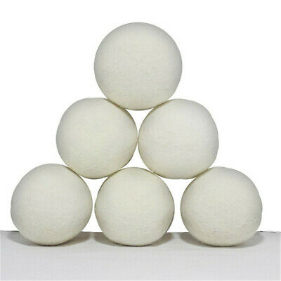 6Pcs Laundry Dryer Balls Natural Reusable Fabric Softener Drying Clothe Ball WE