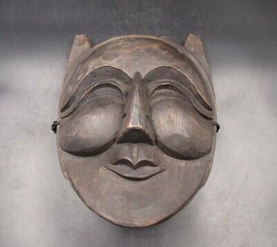 250mm Handmade Carving Statue Painting colored drawing wood Mask Deco Art