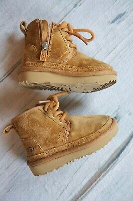 03697ed1b4b UGG NEUMEL II Boots Toddler Size 6 Suede Chesnut Wool Lined Chukka  Childrens Tan