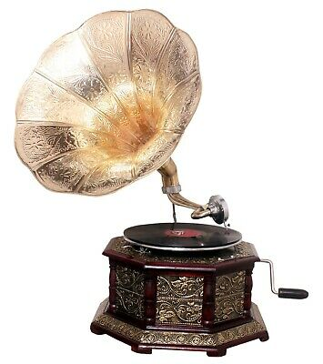 Replica Gramophone Player 78 rpm Embossed Hex phonograph Brass Horn HMV Vintage