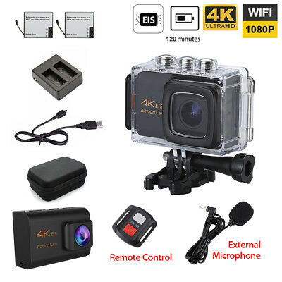 Wifi 4K Sports Action Camera Waterproof Housing with Mic/Remote Charger+Battery