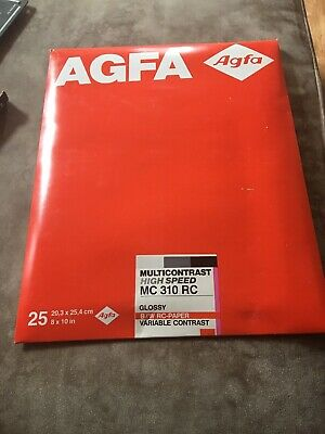 Agfa Multi Contrast Premium Glossy 8x10 MCP 310 RC Photogtaphic Paper 25 Sheet