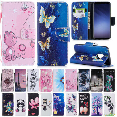 For Samsung Galaxy S8 S9 Plus Case Patterned Magnetic Stand Leather Wallet Cover