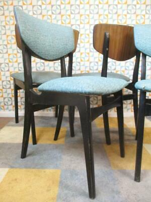 Set Of 4 Vintage 60's Dining Chairs Black & Teak Blue Vinyl Mid-Century Retro