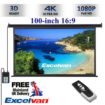 100-inch 16:9 Wall Ceiling Electric Motorized HD Projector Screen+Remote Control