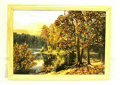 Amber Inlay Picture Handmade Wall Decor Green Yellow Natural Baltic Home Office