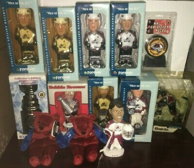 Colorado Avalanche Bobblehead McFarland Puck Lot Sakic Roy Pewter Stanley Cup