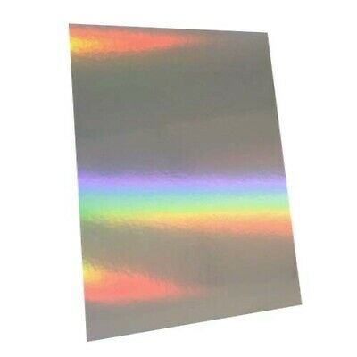 25 Sheets - Silver Rainbow Holographic A4 Crafting Card