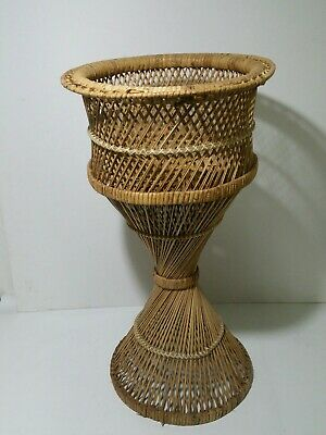 Vintage Mid Century Modern Wicker Rattan Planter Plant Stand - Atomic Style Boho