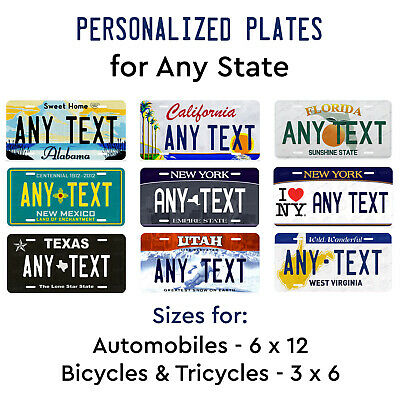 Customized License Plate Tag for Any State Auto Car Bicycle Bike Wall Door Sign