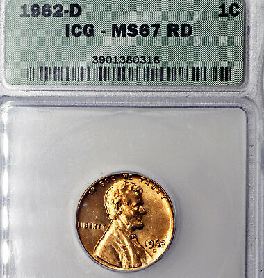 1962-D MS67 RD Lincoln Memorial Cent 1c, ICG Graded Red!
