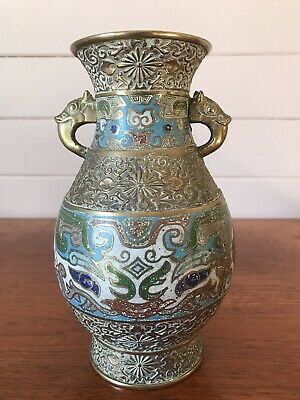 Vintage Stunning Chinese Brass And Cloisonne Vase Double Handled Stamped Base