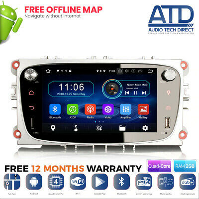 "7"" Android 9.0 Negro Wifi GPS GPS BT 16GB Radio para Ford Focus Mk2 Mondeo Mk4"