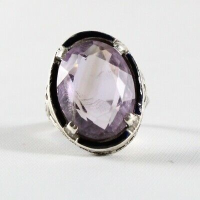 ANTIQUE ART DECO Sterling Silver Amethyst Ring (size 6)