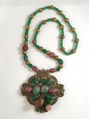 Vintage Massive Early French Gripoix Poured Glass Fruit Bead Necklace