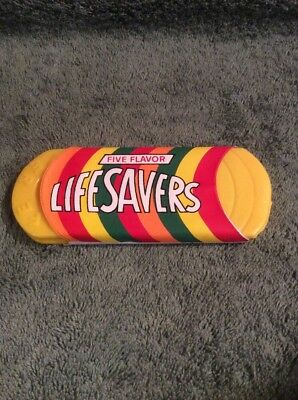 Vintage LIFE SAVERS Five Flavor Plastic Comb Mirror Set Purse Vanity Yellow RARE