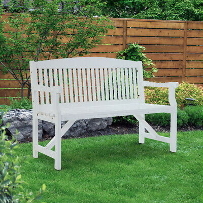 Classic Wooden Garden Bench Outdoor Patio Chair 3-Seater Handcrafted Seat White