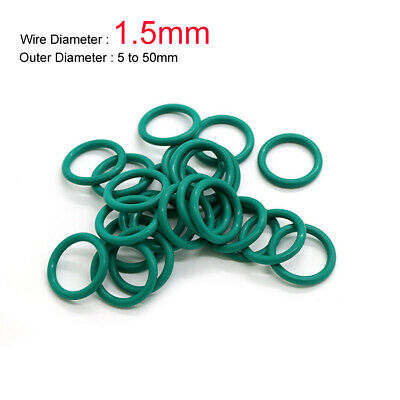 Green FKM Fluorine Rubber O-Ring Oil Sealing Ring 5 to 50mm OD x 1.5mm Wire Dia.