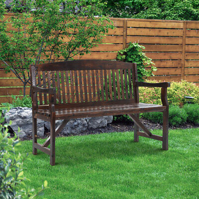 3-Seater Classic Wooden Bench Outdoor Garden Seat Patio Park Chair Handcrafted