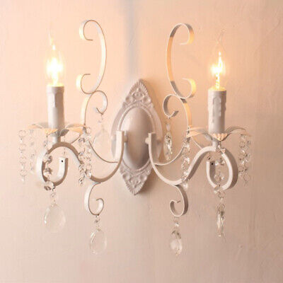French Country Wall Light Entryway Sconce Candle Style Crystal Wall Lamp Fixture