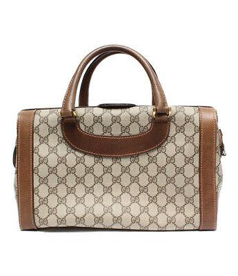 2cb449040973 Auth Gucci GG Supreme Hand Bag Brown OLD Gucci Vintage GG Canvas Logo G275