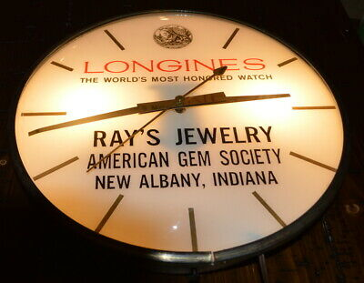 Longines Watches Advertising Electric Wall Clock Rays Jewelry New Albany, IN AGS