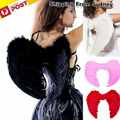 Angel Wings Fancy Dress up Fairy Feather Costume Outfit Large Adult Hen Party AU