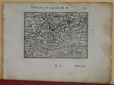 Auschwitz Zaror Poland 1577 Ortelius & Galle Unusual First Edition Antique Map