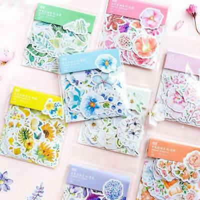 45Pcs Cute Diary Journal Flower Stickers Scrapbooking Japanese Style Decor
