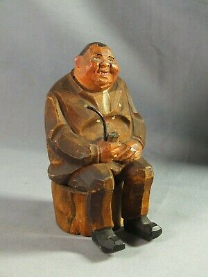 Black Forest Wooden Wood Carved Man Seated with Pipe