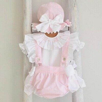 UK Summer Newborn Infant Baby Girls Clothes Tops Plaids Shorts Overalls Outfit