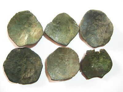 Lot of 6 Byzantine Bronze Scyphate Cup-shaped coins 11th–14th Century AD
