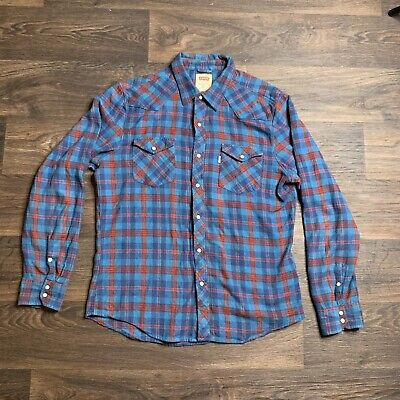 84aa19ca Levis Mens L Plaid Blue Red Long Sleeve Western Pearl Snap Cotton Flannel  Shirt