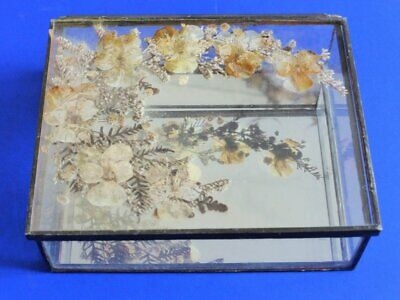 Antique Glass + Mirror Box with Pressed Flowers, Trinket Box, Jewellery Box