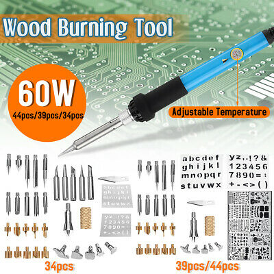 34/39/44Pcs 60W Electric Wood Burning Pen Soldering Iron Tool Set Pyrography Kit