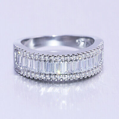 Elegant Women 925 Silver Wedding Rings Emerald Cut White Sapphire Ring Size6-10