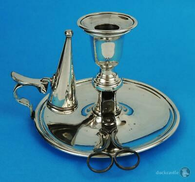 Elegant GEORGE III OLD SHEFFIELD PLATE CHAMBER CANDLESTICK c1800 With Snuffers