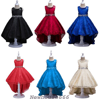 Kids Girl Party Bow Princess Dress Flower Wedding Ball Gown Formal Dresses Child