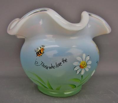 """Fenton INSPIRATIONS on a French Opalescent 3"""" Hand-Painted Rose Bowl 5588"""