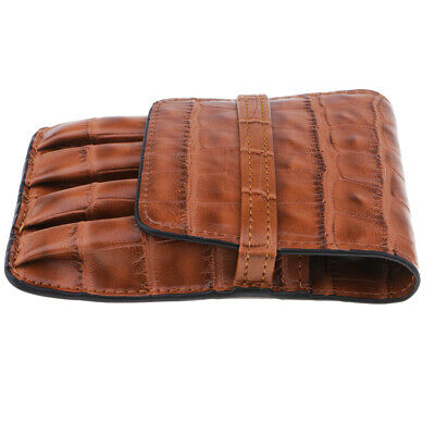Leather Pencil Bag Fountain Pen Ballpoint Bag Pen Pouch for 4 Pens Brown