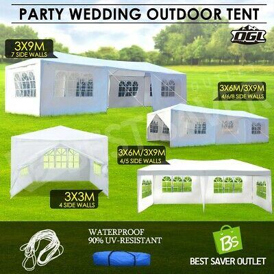 OGL Gazebo Party Wedding Tent Shade Canopy Event Marquee Outdoor Camping White