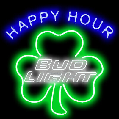 "New Bud Light Happy Hour Clover Beer Bar Neon Light Sign 24""x20"""