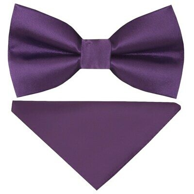 e82fbe017f989 Pre Tied Purple Satin Boys Bow Tie and Pocket Square Set Kids Dickie Bow  Childs