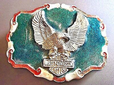 Harley Davidson Motorcycles Silver Metal Enamel Eagle Large Belt Buckle IN 1110