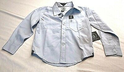 Volcom Blue Collared Button Down Long Sleeve Shirt Top Toddler Boy's Size 3T