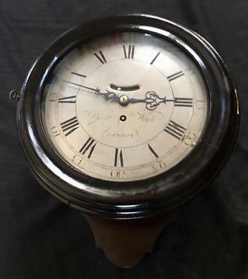"Antique clock rare verge fusee 10"" silver dial salt box Burt wade London 1757"