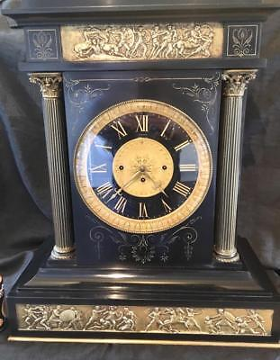"Antique clock triple chain fusee Massive clock 10"" dial signed British museum"