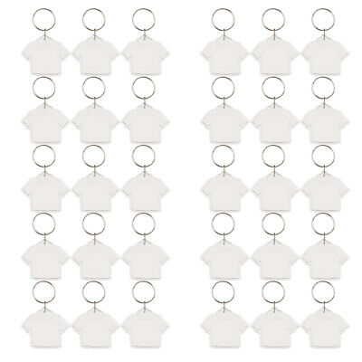 20x Blank Clear Acrylic Keyring Square 45mm Photo Insert Keychains