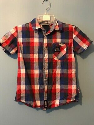 Boys 7-8 Yrs Lee Cooper Red Blue White Checked Short Sleeve Top Shirt